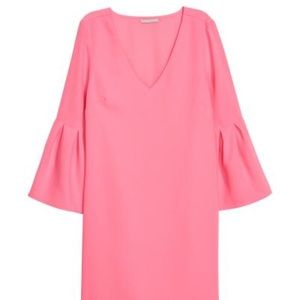 Pink Dress with Trumpet Sleeves